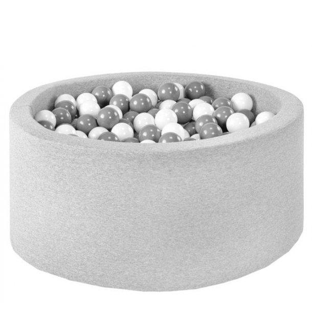 Misioo boldbassin - Lysegrå - Rundt 90x40 inkl. 200 bolde