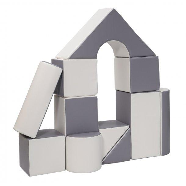 Legeskum sæt med byggeklodser - Hvid/Grå