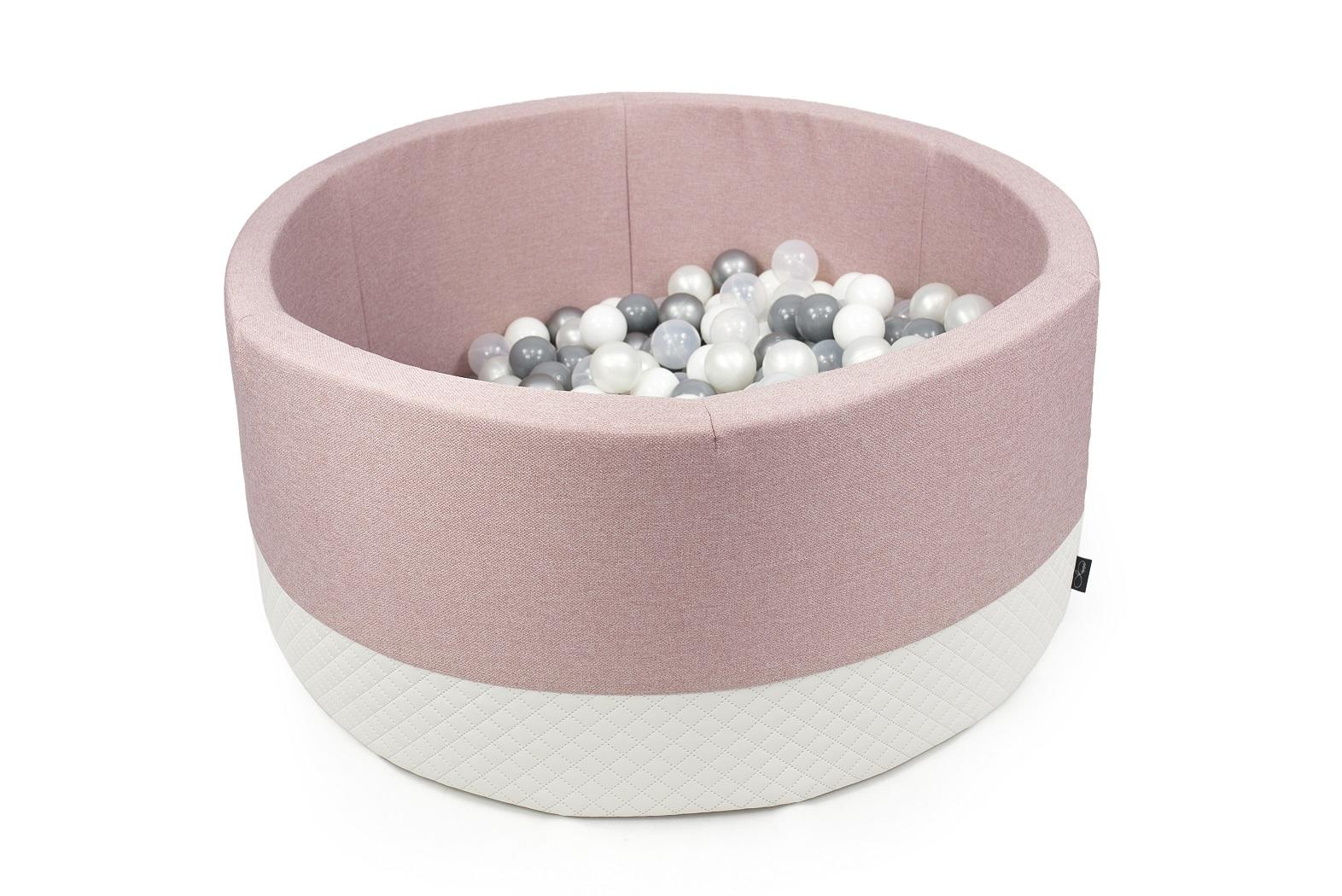 Boldbassin m. imiteret quiltet øko-læder - Støvet rosa - Rundt 90x40 cm inkl 200 bolde ...