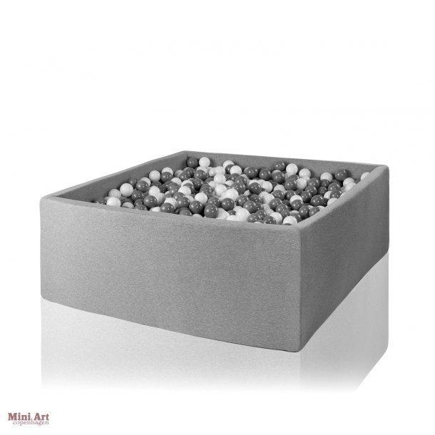 Misioo boldbassin - Grå XXL - Firkantet 130x130x50 inkl. 500 bolde