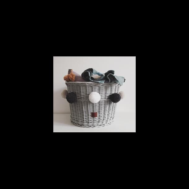 Opbevaringskurv i flet med pomponer - Grå