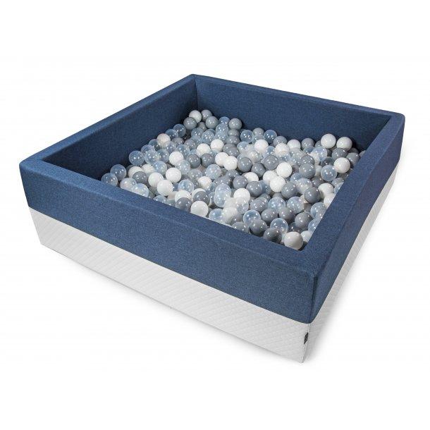Boldbassin m. imiteret quiltet øko-læder - Støvet Blå - Firkantet 120x120x40 cm inkl 500 bolde